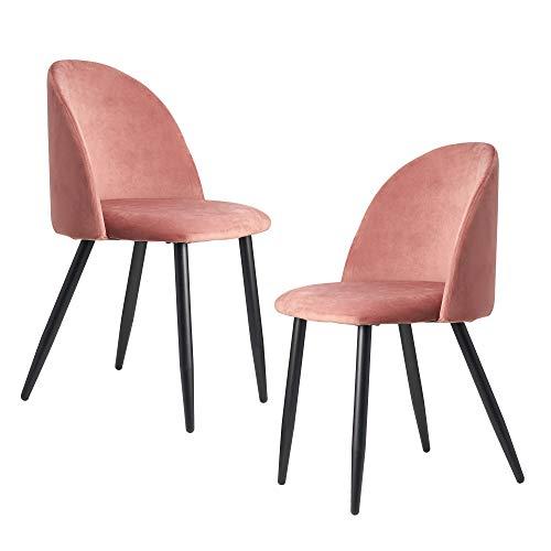 FineBuy Esszimmerstuhl 2er Set Samt Rosa Gepolstert | Küchenstuhl mit Schwarzen Beinen | Schalenstuhl Skandinavisches Design | Polsterstuhl mit Samtbezug