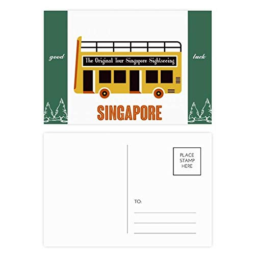 Singapore Sightseeing Shuttle Bus Good Luck Postkaart Set kaart Mailing Side 20 stks