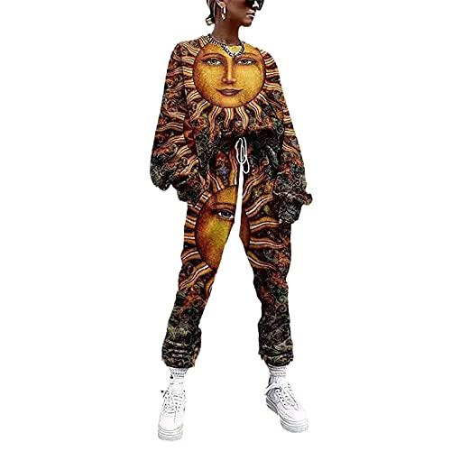 YZJYB Chandal De Jogging para Mujeres Deportivo Sudadera con Capucha De Manga Larga + Pantalones Bolsillos con Cordón 2Pcs/Set Casual Hipster Deportivas Ropa,Multi Colored,L