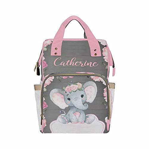 Personalized Baby Elephant with Blooming Rose Flowers Diaper Bag Nursing Baby Bags Nappy Bag Casual Travel Daypack for Mom Gifts
