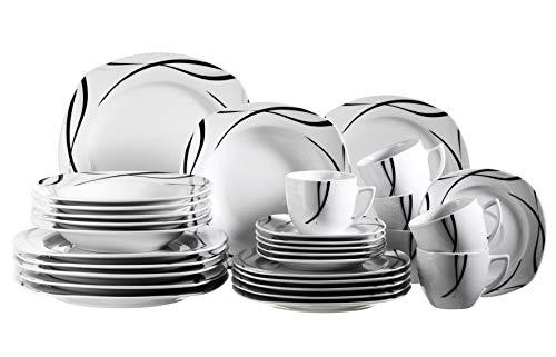 Mäser 920463 Serie Oslo, 30-teiliges Kombiservice für 6 Personen, Geschirr-Set, klassisch, zeitlos, elegant, Porzellan, schwarz-weiß