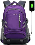 Backpack Bookbag for School College Student Sturdy Travel Business Laptop Compartment with USB Charging Port Luggage Chest Straps Night Light Reflective (Purple)