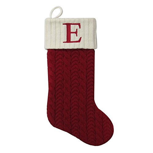 MFT St. Nicholas Square 21-inch Monogram Embroidered Initial Cable Knit Red Christmas Holiday Stocking Letter E