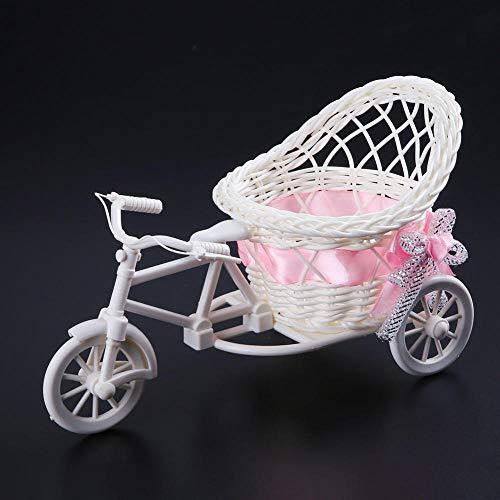Vase Garten Rattan Dreirad Fahrrad Korb Vase Hochzeitsfeier Büro Tisch Lagerung Home Blumendekor Werkzeuge Schlafzimmer Vasen-4