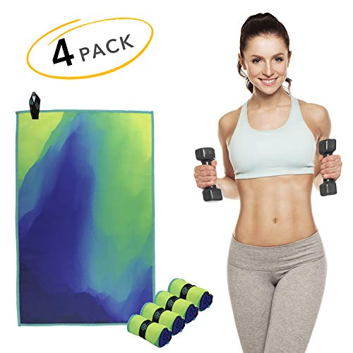 Acteon Microfiber Gym Towels - Quick Dry Workout Towel - Sweat Towel - Antibacterial - Odor Fighting & Ultra Compact. Great for Travel, Camping, Sports, Backpacking - Men & Women - 15