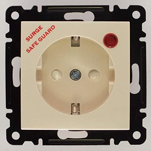 Lumia Überspannungsschutz - Steckdose, VDE Zertifiziert, Unterputz mit Steckklemme und Abdeckkappe, in beige