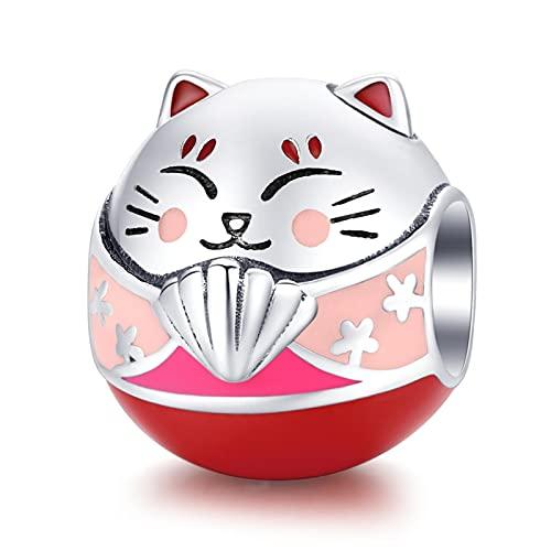 LISHOU Lucky Cat 925 Plata Esterlina Animal Gatito Colgante Abalorios Se Ajustan A La Pulsera Original Pandora Collar DIY Joyería De Las Mujeres Que Hace D4