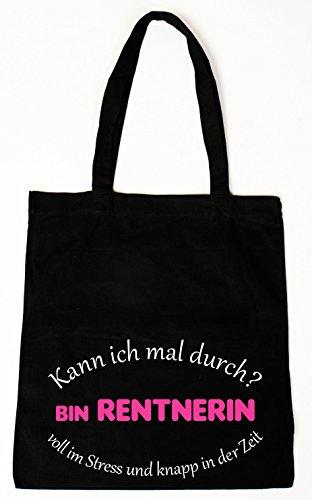 handmade-in-nb Baumwollbeutel Tasche Bag - Kann ich mal durch Bin Rentnerin witziger Spruch (Lange Henkel)