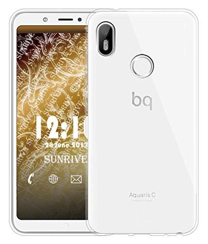 Sunrive Für BQ Aquaris C Hülle Silikon, Transparent Handyhülle Schutzhülle Etui Hülle für BQ Aquaris C(TPU Kein Bild)+Gratis Universal Eingabestift