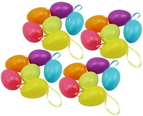 com-four® 24x Uova di Pasqua da Appendere - Decorazione Pasquale in Diversi Colori Pastello - Decorazione Pasquale - Dimensioni: 6 cm (Set3 - Pastell 6cm - 24 Stück)