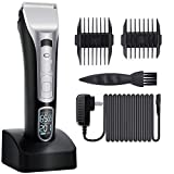 Hair Clippers For Men, Cordless Fast Charging Waterproof Beard Trimmers with TWO Guide Combs Titanium Blades, Kids Control with Intelligent Display, Smooth Cut, Gifts For Man Who Has Everything
