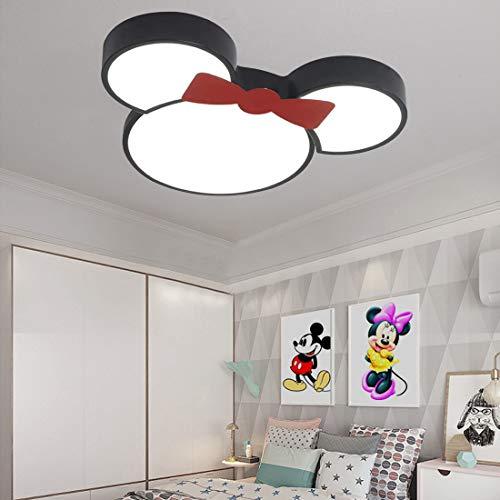 Creativo Plafón habitación infantil LED regulable, moderna iluminación colgante niños blanca con mando a distancia, elegante niña niño dormitorio luz de techo redonda, diseño Disney Minnie, Ø50cm, 24W