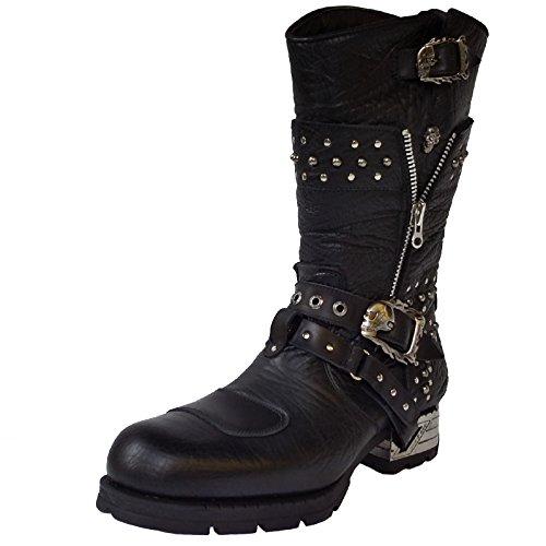 New Rock Engineer Boots MR022 mit Nietenverzierung, Farbe:Black;Größe:44