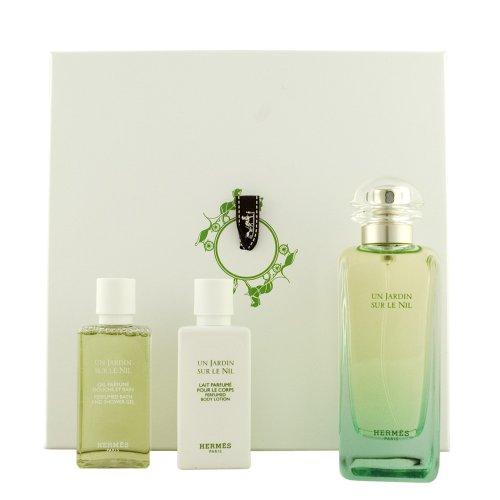 Hermes Un Jardin sur le Nil unisex, Geschenkset - Eau de Toilette, 100 ml, Duschgel, 40 ml plus Body Lotion, 40 ml, 1er Pack (1 x 3 Stück)