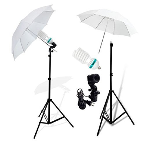 Set of 1 x Photo Studio Continuous Lighting with One Umbrella Light Lamp Photography Stand Kit