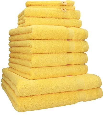 Betz 10-TLG. Handtuch-Set Premium 100% Baumwolle 2 Duschtücher 4 Handtücher 2 Gästetücher 2 Waschhandschuhe Farbe gelb