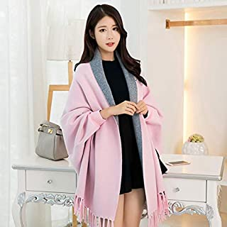 Winter Long Scarf Sleeve Wearable Shawl Female Spring and Autumn Office air Conditioning Shawl Wild Scarf Cloak Cloak (Color : Pink) Winter Soft Scarf (Color : Pink)
