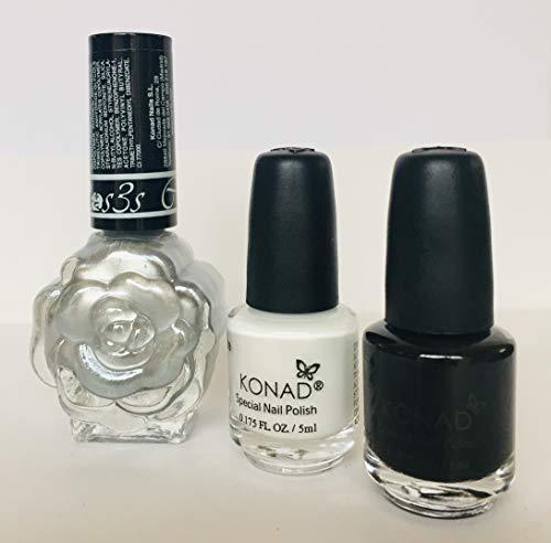 KONAD- Kit 3 esmaltes para estampar: Plata, Negro y Blanco