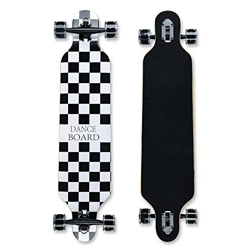 Longboard 41Zoll, mit ABEC-11 Kugellagern ,Drop-Through Freeride Skateboards Cruiser (Gitter-144)