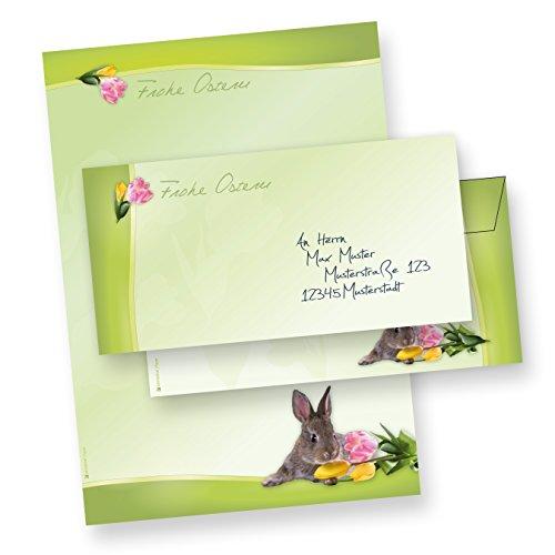 Briefpapier Oster-Papier für Set A4 Osterhase (10 Sets ohne Fenster) 10 Briefbogen + 10 Umschläge Ostern