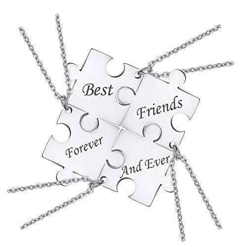 XUANPAI 4Pcs Stainless Steel Customize Matching Puzzle Piece Necklace Best Friends BFF Friendship Necklace