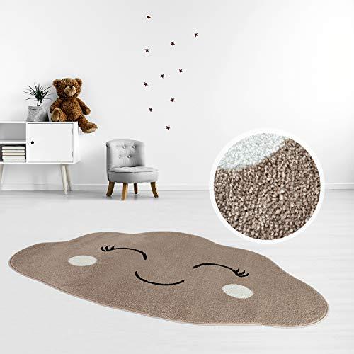 MyShop24 Kids tapijt vlakke pool 100x150cm pastelgroen Vrolijke wolken wolken vorm voor de kinderkamer Oeko-Tex Standard 100 100 x 150 cm beige