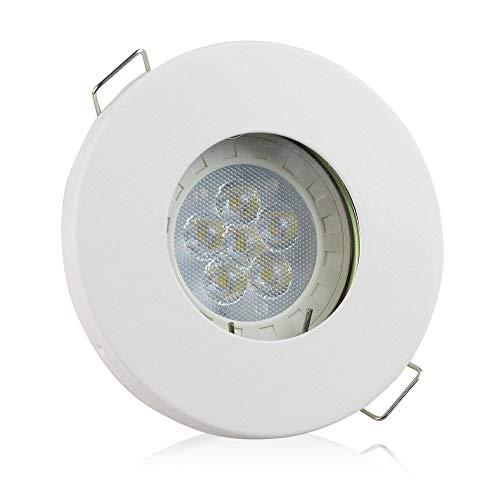 Downlight LED Blanc blanc froid 7,5 Watt dimmable super plat rond 230V - convient pour salle de bain, extérieur, IP44 - avec ampoule et douille GU10 - trou de forage