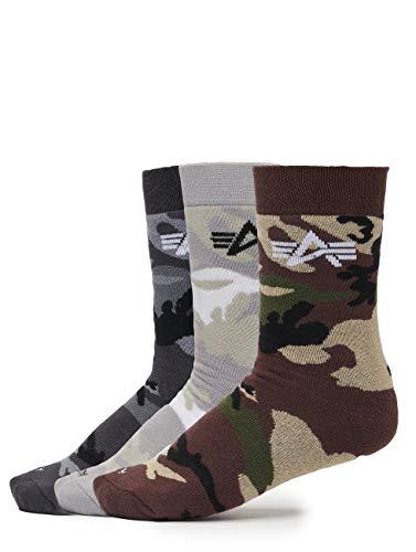 Alpha Industries Herren Socken 3 Pack Camo Camouflage 36-40