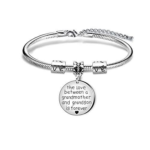 KENYG The Love Between A Grandmother and Grandson is Forever Round Shape Pendant Snake Bracelet Bangle