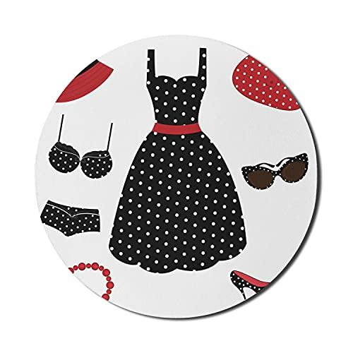 1950er Jahre Mauspad für Computer, Gruppe von 50er Jahre Stil weibliche Mode Kleidertasche Hutabsätze Schuhe Sonnenbrillen, rundes rutschfestes dickes Gummi Modern Gaming Mousepad, 8 'rund, rot schwar