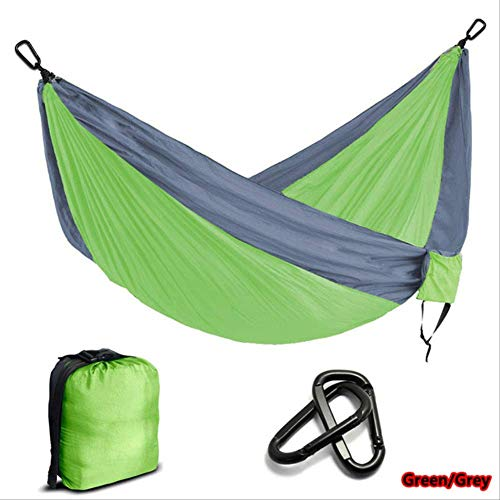 yangz Multi-color Nylon Parachute Hammock Camping Survival Garden Hunting Leisure Travel Double Person 270cmx140cm Green and Light grey