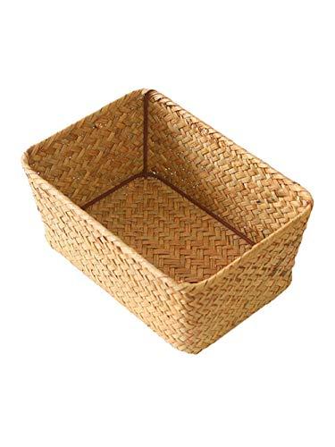 [YYQ-SHOP]収納バスケット かご パンかご 麦わら おしゃれ 収納かご 手編み 小物入れ バスケット フルーツ 果物入れ 雑貨収納(4イエロー)