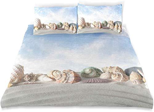 Rorun Sängkläder påslakanset - Ömtåliga snäckskal på sandbacke med himmel bakgrund kusttema sommar strand foto - borstat mikrofiber påslakan med örngott - dubbel (200 x 200 cm)