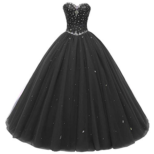 Meilishuo Women's Sweetheart Beaded Quinceanera Prom Ball Gown Long Tulle Quinceanera Party Dresses with Jacket LF039