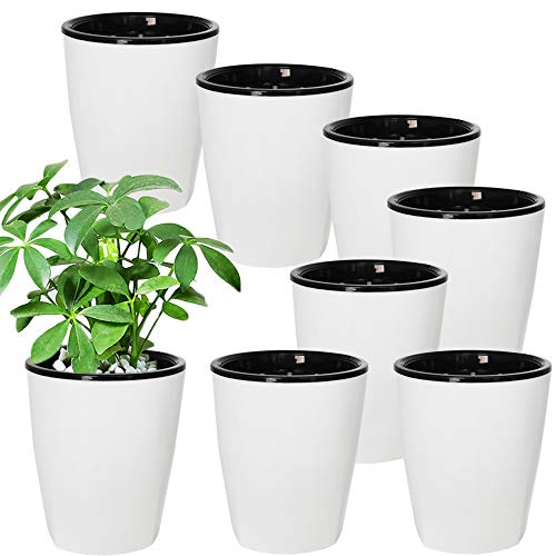 8 Pack 4 Inch Self Watering Plastic Planter with Inner Pot White Flower Plant Pot,Modern Decorative Flower Pot for All House Plants,Flowers,Herbs,African Violets