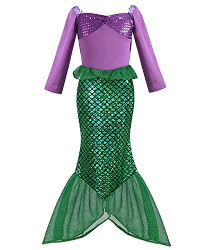 Geplaimir Meerjungfrau Kostüm Kinder Mädchen Dress Up Arielle Kostüme Prinzessin Kleider Cosplay Kinder Outfits Fischschuppen Geburtstag Party Badeanzug Ankleiden Größe 002L (5-6 Jahre)