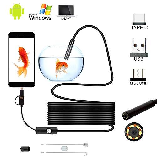 Beenle-Icey Endoscopio Android Type-C/Mirco/USB Impermeabile IP67 Telecamera di Ispezione con LED e Cavo Serpente Rigido per Dispositivo Tablet Smartphone (5m)