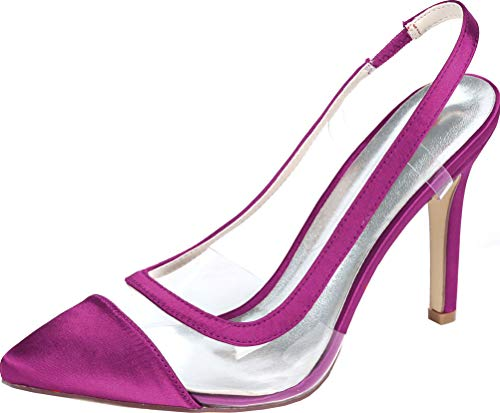 Zapatos de tacón para mujer con puntera puntiaguda D-Orsay vestido de boda...
