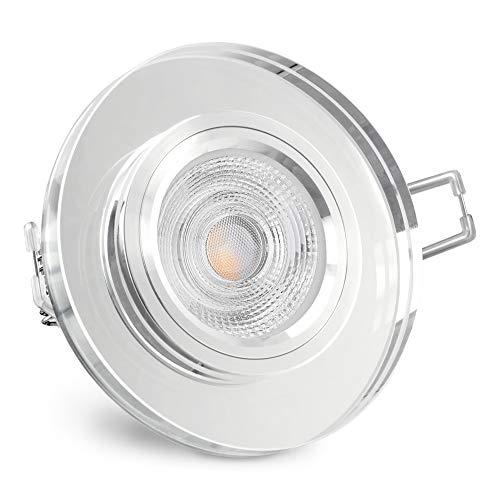 SSC-LUXon® Glas Einbaustrahler LED rund aus Kristallglas klar - mit LED GU10 5W warmweiß 230V - Design Deckenspot Einbauleuchte