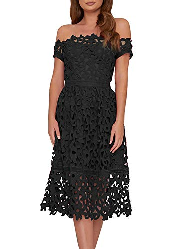AlvaQ Elegant Lace Dress for Women Party Formal Wedding Sexy Off Shoulder Black Dresses Fashion 2019 X-Large