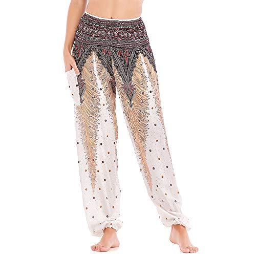 Nuofengkudu Donna Cotone Harem Lunga Pantaloni con Tasconi Hippie Stampata Vita Alta Morbidi Baggy Indiana Yoga Pants Bohemian Pantalone Estivi Spiaggia(Bianco Pavone,Taglia Unica)