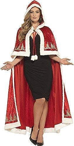 Fancy Me Damen Deluxe Lang Roter samt Fr ein Claus Weißachten Weißachtsmann Weißachten Festlich Noel Mantel Umhang Maskenkostüm