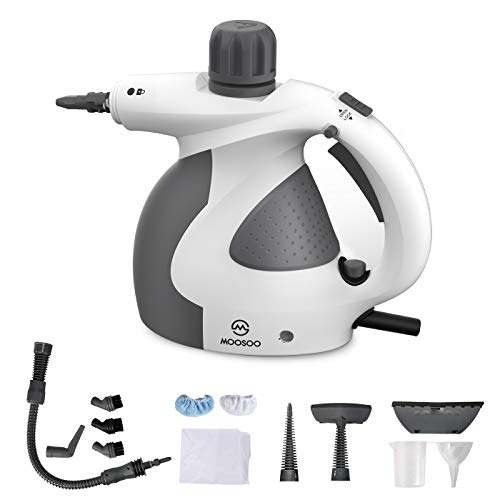 MOOSOO Steam Cleaner, Multi-Purpose Steam Cleaner for Home Use, Handheld Steamer with 9-Piece Accessories, Ideal for Upholstery, Carpet, Toilet, Bathroom, World's Best Steamers SC1000