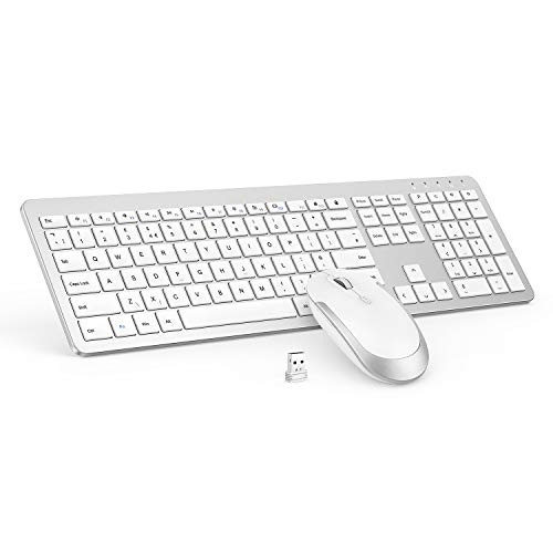 Full size Slim Thin Wireless Keyboard Mouse 2.4G Stable Connection Adjustable DPI - White & Silver