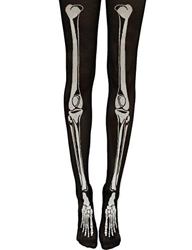 Yummy Bee - Skelett Knochen Strumpfhose Blickdicht Schwarze Weiße Knochen Gruselig Karneval Fasching Kostüm Damen