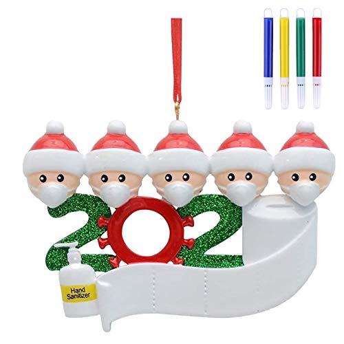 ArtTao 2020 Christmas Ornament Quarantine Bulk Personalized Family Name Christmas Ornament Kit with Mask Toilet Paper, 2020 Christmas Ornament Souvenir, Xmas Hanging Decors
