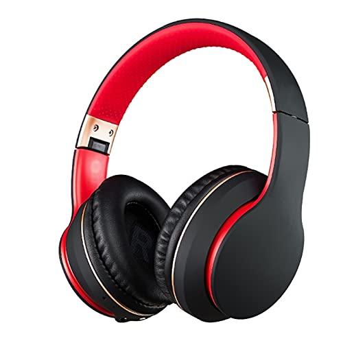 Dongxiao Auriculares de Sstudio Auriculares Bluetooth sobre oído, Auriculares estéreo inalámbricos con Auriculares inalámbricos y con Cable con, TV/teléfono Celular/PC Cómodo (Color : Black Red)