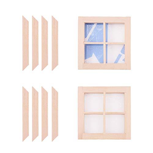 WANDIC Ventanas de casa de muñecas, 2 Piezas de 4 Paneles de Madera sin Pintar, Escala 1:12 Mini Marco de Ventana para Bricolaje casa de muñecas o Modelo de Ciudad Accesorio