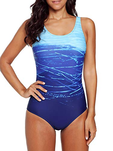 Zando Womens Bathing Suits One Piece Swimsuits Athletic Training Swimsuit Tummy Control Slimming Swimwear for Women Blue Large (US 10-12)