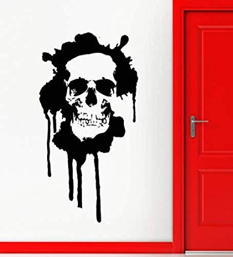 Wandaufkleber Vinyl Aufkleber Schädel Tod Modern Grunge Ihr Zimmer Dekor Halloween Festival Wandkunst Aufkleber Vinyl Wallpaper Wandbild 56X107Cm